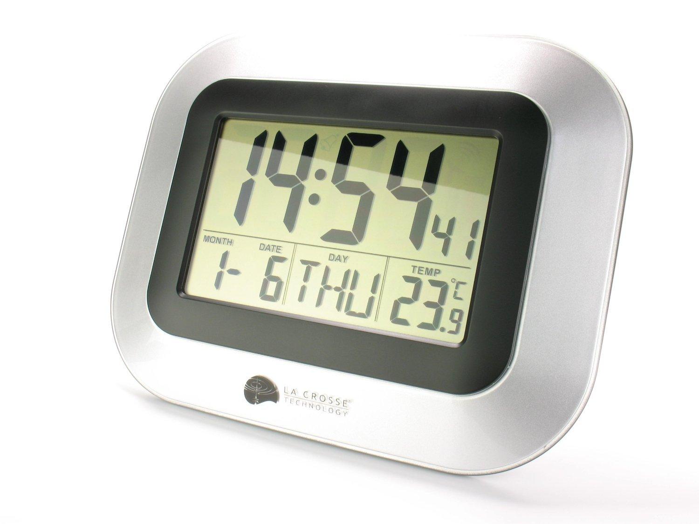 DeliaWinterfel Reloj de Pared con Alarma, Snooze, Calendario y Temperatura, Radio controlados by: Amazon.es: Hogar