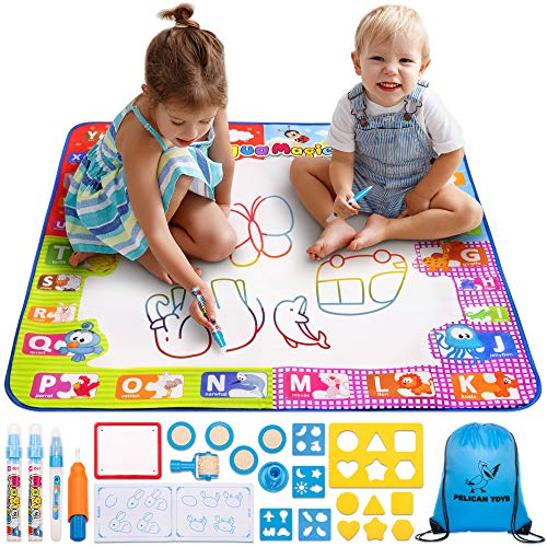 Water Drawing Mat for Kids - Best Aqua Magic Doodle - Mess Free Water Coloring Educational Mats for Toddlers - Color Mat for Boys Girls - Age of 2 3 4 5 6 7 8 Year Old - XL Painting Mat with 3 Pens