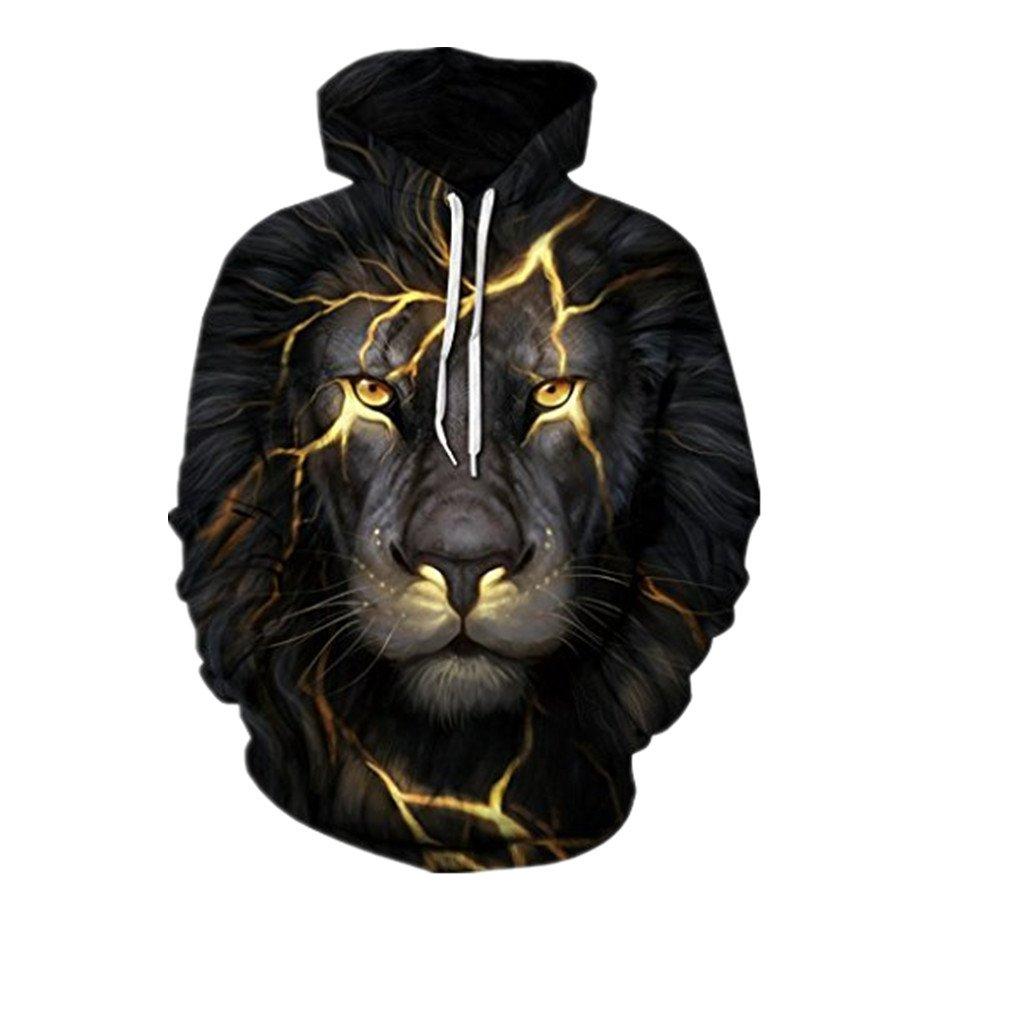 Byste Unisex Plus Size Autumn Winter 3D Printed Skull Pullover Long Sleeve Hooded Sweatshirt Tops Blouse, Sportswear Cool Lovers Black Gold