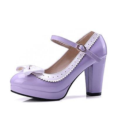 HILIB Woman\'s high Heel Lolita Shoes Cute Bowknot Mary Jane Shoes Purple 9.5 | Pumps [3Bkhe0907109]