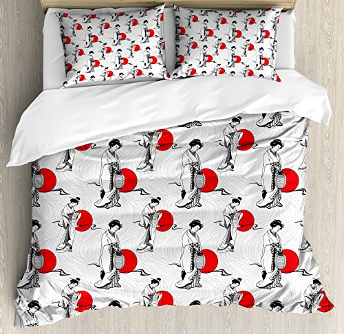 Costume Old Lady Baby On Back (Japan Duvet Cover Set Queen Size by Lunarable, Cultural Pattern with Geisha Woman in Kimono Costume on Abstract Wavy Backdrop, Decorative 3 Piece Bedding Set with 2 Pillow Shams, Orange White)