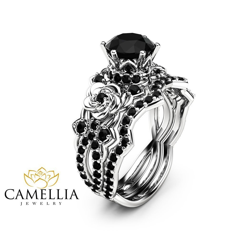 Black Diamond Engagement And Wedding Ring Sets