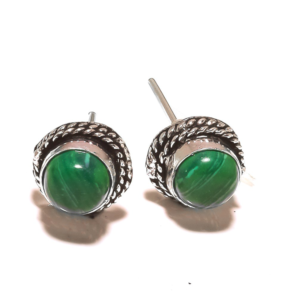 Green Malachite Sterling Silver Plated 5 grams Stud// Earring 12 mm Modern Fashion Handmade Art Jewelry