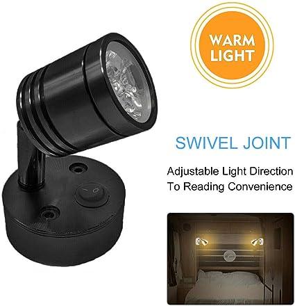 MASO 12V Car Led Interior Light Adjustable Spot Reading Light Boat RV Camper Van Caravan Motorhome Wall Warm Light