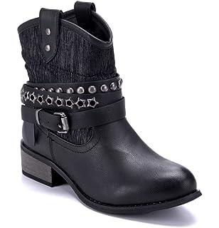 3128f0575a46a2 Schuhtempel24 Damen Schuhe Westernstiefel Stiefel Stiefeletten Boots  Blockabsatz Schnalle Nieten 3 cm