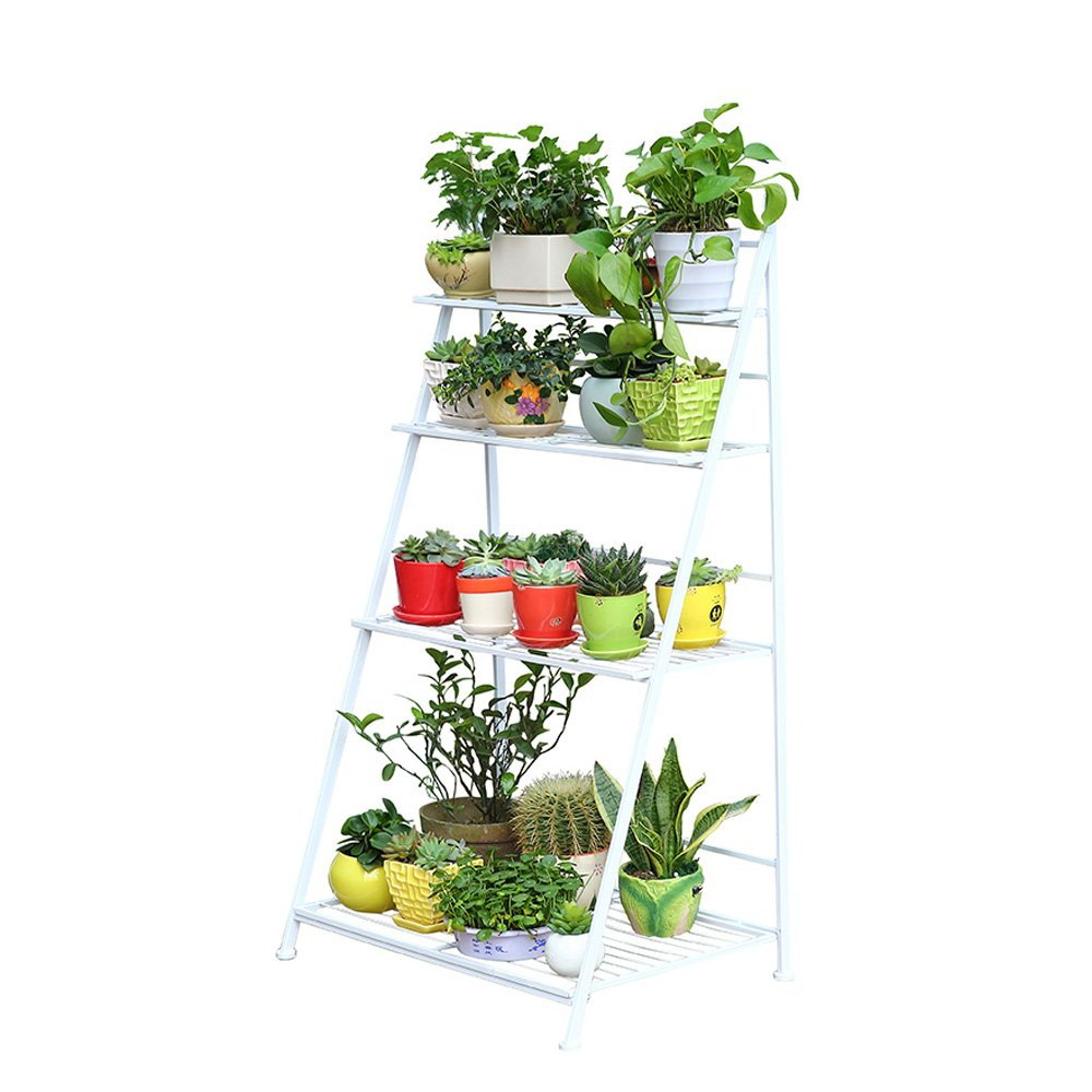 European Iron Multilayer Floor Folding Flower Stand Plant Shelf White Terrace Guardrail Living Room Stairway (Size : Four Layers of 70 cm)