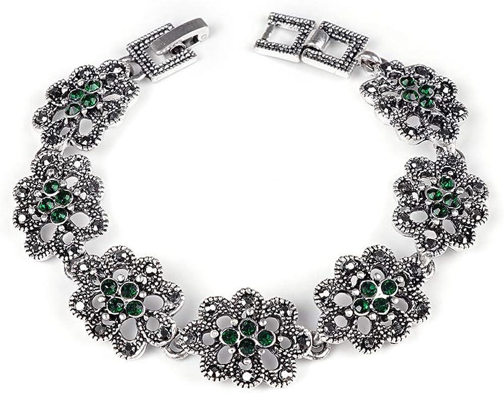 XBJ Pulsera de Mujer, Pulsera clásica de Piedras Preciosas, Pulsera de Damas con Forma de Flor de Diamante Hueco Plateado