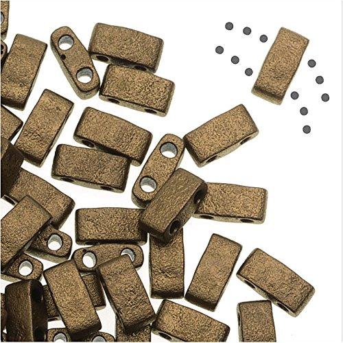 ole Rectangle Beads 5x2.3mm - Matte Metallic Gold 7.8 Grams (Flat Rectangle Bead Strand)