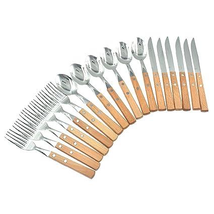 Kesheng 18pcs Conjunto de Cuberterías Tenedor Cuchillo y Cuchara con Mango de Madera para 6 Personas
