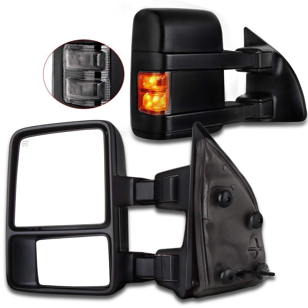 Towing Tow Mirrors Manual Smoke Signal Dual Glass for 03-07 Ford F250 F350 F450 F550 Super Duty Left/&right Passenger/&driver Side View Mirror Pair Set Telescoping Folding Black Textured