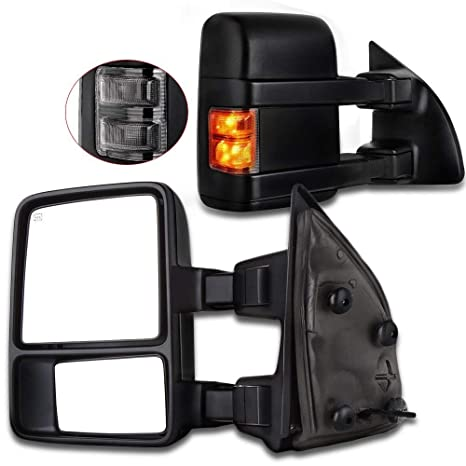 Towing Tow Mirrors Manual Smoke Signal Dual Gl for 03-07 Ford F250 on