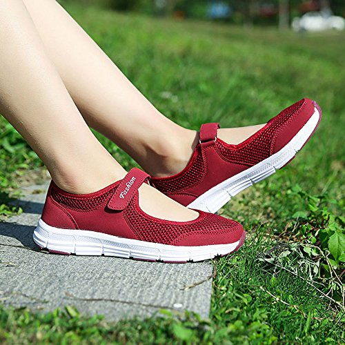 eleganti sandali beautyjourney Ginnastica Scarpe estate Sandali donna scarpe Sportive donna basse da sneakers estive Rosso Scarpe scarpe da donna donna Basse corsa fRvrfq