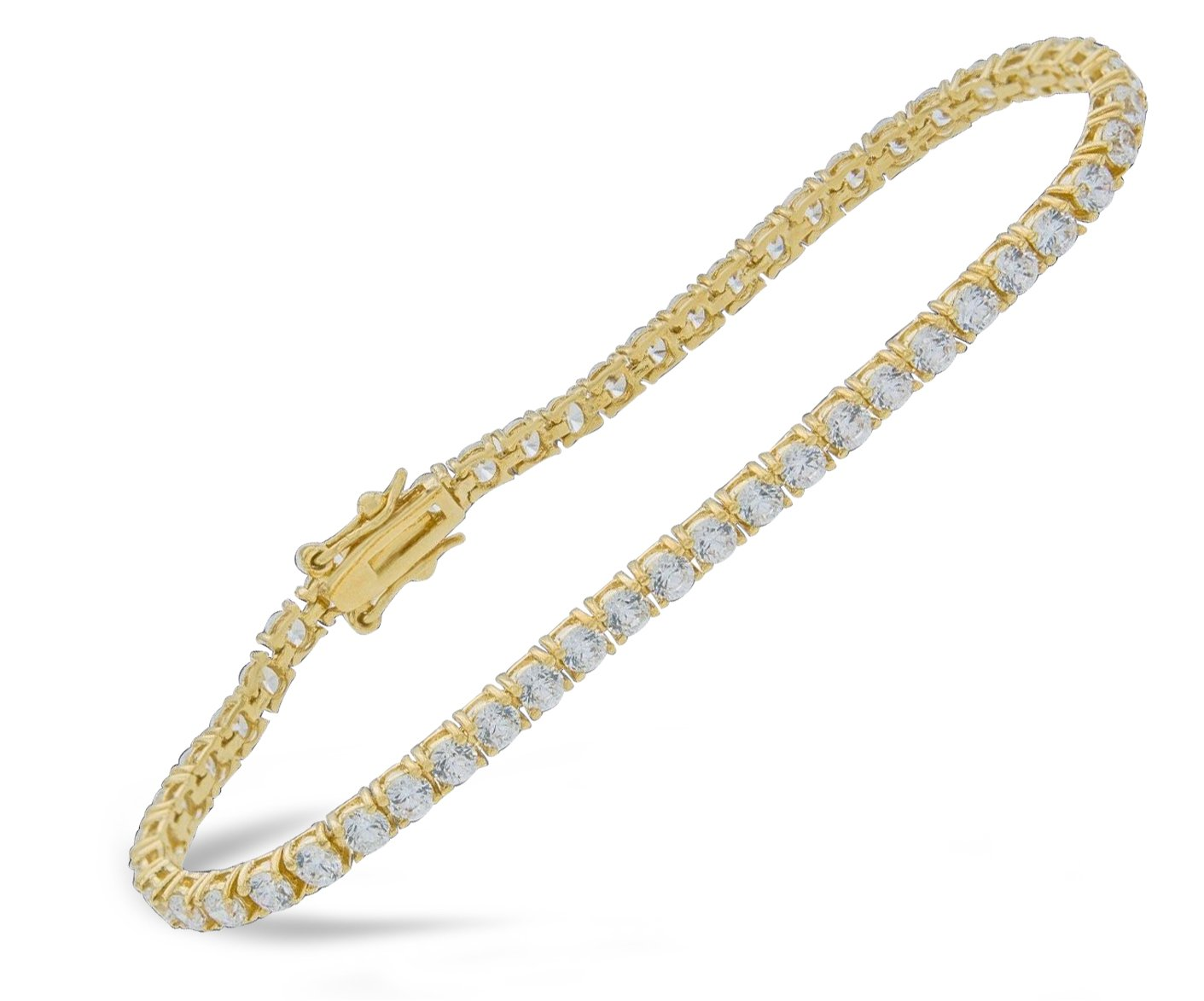 Women's14k Yellow Gold Finish 4.00 Ct Simulated Diamond Tennis Bracelet 5-10 Inches (8 Inches)