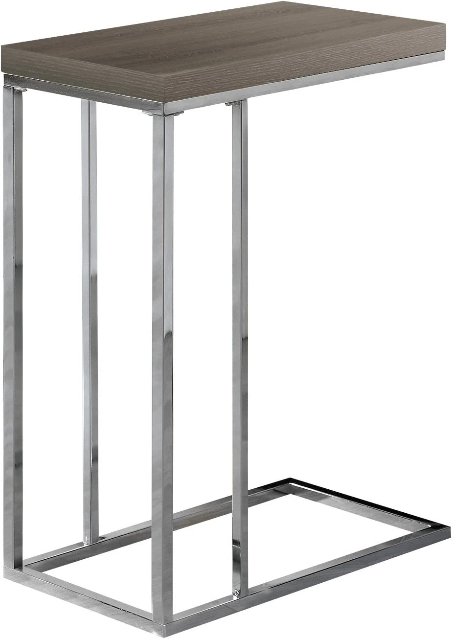 Shop Monarch Specialties 3253, Chrome Accent Metal Base C-Table, Dark Taupe from Amazon on Openhaus