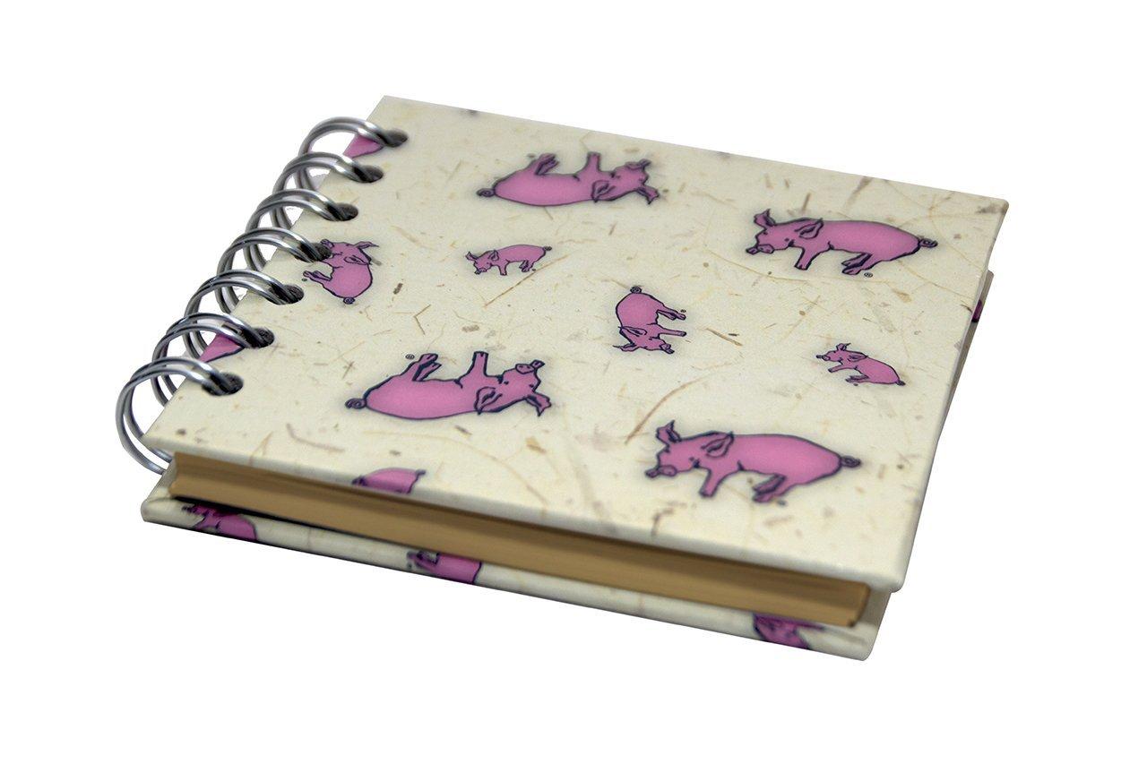Pink Pig Quadratisches Skizzenbuch 4 x 4 35 Bl/ätter Lila schwarzes Recycling-Papier