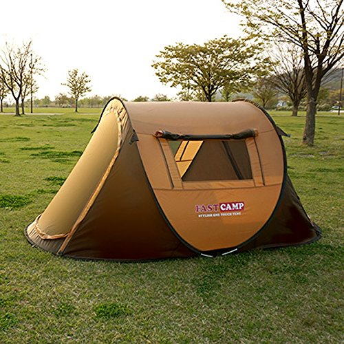 Smart One Touch Automatic Pop Up Camping, Hiking Easy Set-Up 3~4 Person Instant Tent (Brown)