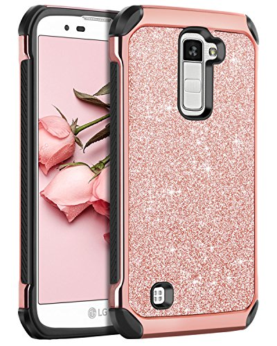 LG K10 Case, LG Premier LTE L62VL L61AL Case, BENTOBEN Sparkly Hybrid Hard Cover Laminated with Luxury Shiny Synthetic Leather Shockproof Protective Case for LG K10 MS428 K428SG Case, Rose Gold+Black (Best Cell Phone Case For Lg G2)