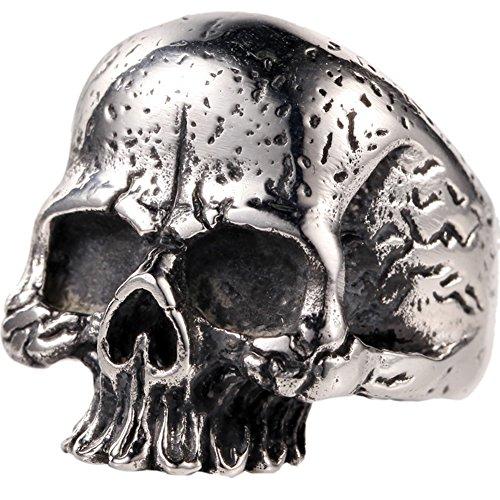 Skull Tattoos Punk - 316L Stainless Steel Silver Mens Vintage Black Tattoo Punk Skull Biker Ring