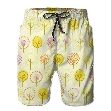 dfegyfr Fondo de árbol Amarillo Pantalones de Playa para Hombre ...
