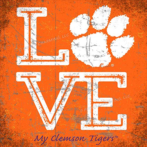 - Prints Charming College Love My Team PAW Logo Square Color Clemson Tigers Unframed Poster 13x13 Inches