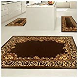 Superior Freyberg Collection 3-Piece Rug Set, Attractive Rugs with Jute Backing, Durable and Beautiful Woven Structure, Elegant Bordered Floral Area Rug Set - 2' x 3', 2' x 5', and 5' x 7' Rugs