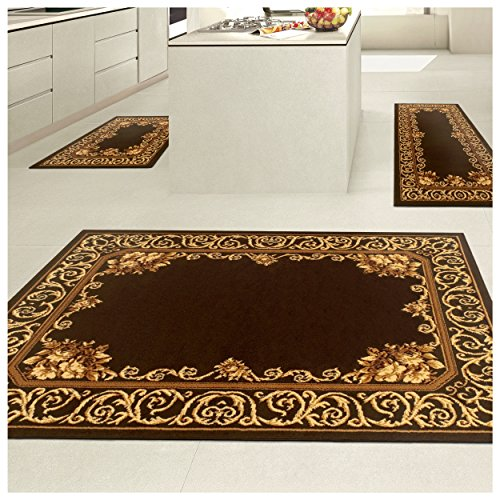 Superior Freyberg Collection 3-Piece Rug Set, Attractive Rugs with Jute Backing, Durable and Beautiful Woven Structure, Elegant Bordered Floral Area Rug Set - 2' x 3', 2' x 5', and 5' x 7' Rugs by Superior