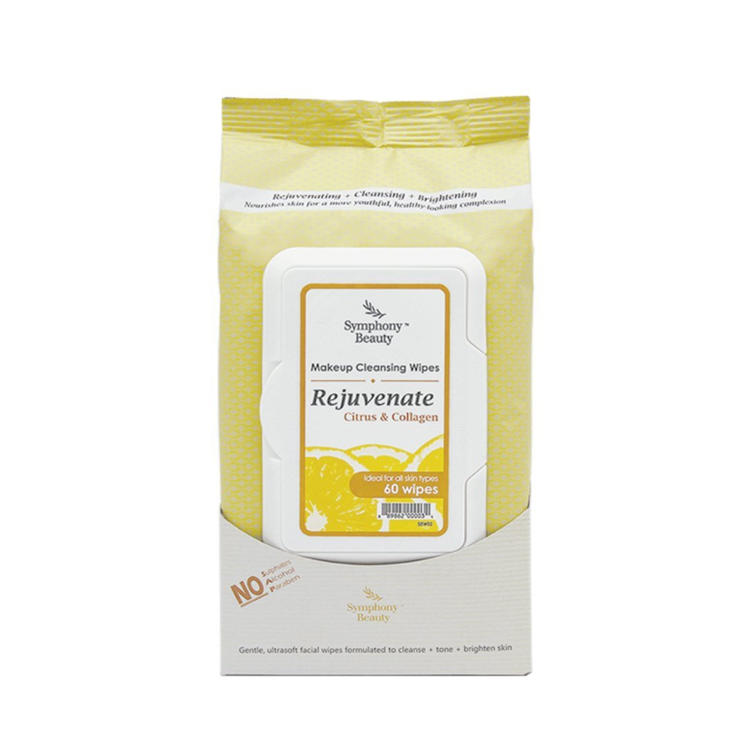 Symphony Beauty Makeup Cleansing Wipes, Rejuvenate-Citrus and Collagen, 60 Wipes
