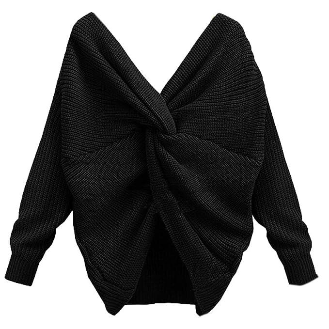 RunrainWomen - Sudadera sexy con cuello en V y espalda trenzada, manga larga, jersey de punto blanco blanco Talla:2XL: Amazon.es: Bebé