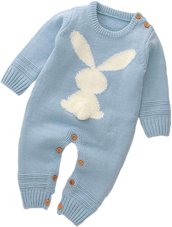 Neugeborenes Baby M/ädchen Jungen Ohr Kapuze Langarm Gestrickte Kapuzenoverall Strampler Winter Babykleidung f/ür 0-24 Monate