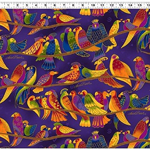 Clothworks Flannel - Wild Ones Flannel by Laurel Burch from Clothworks 100% Cotton Quilt Flannel Fabric Y2330-28 Dark Purple Birds - By the yard