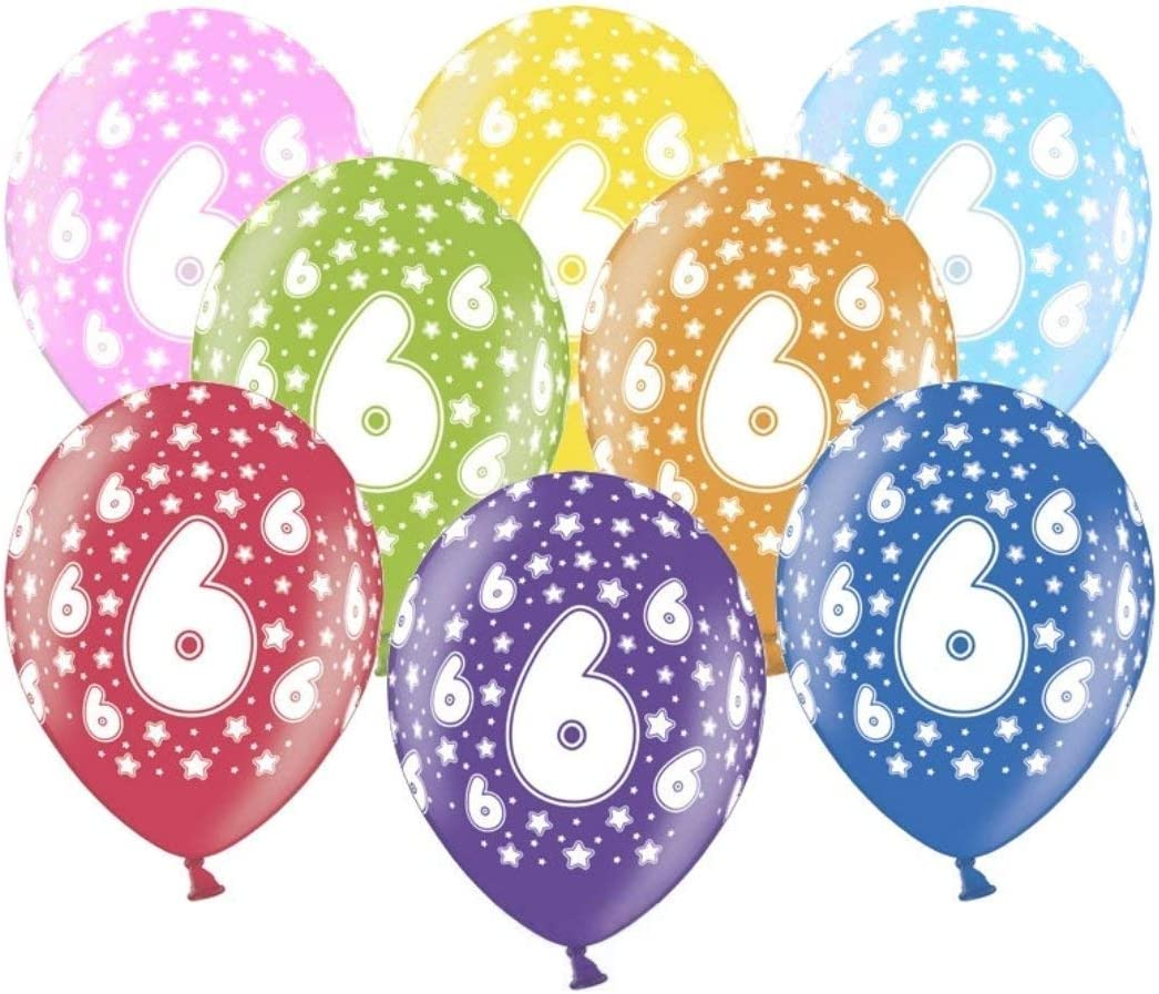 Libetui 10 kunterbunte Luftballons Metallic 30cm Deko zum Geburtstag Party 7.Kindergeburtstag Happy Birthday Dekoration Zahl 7