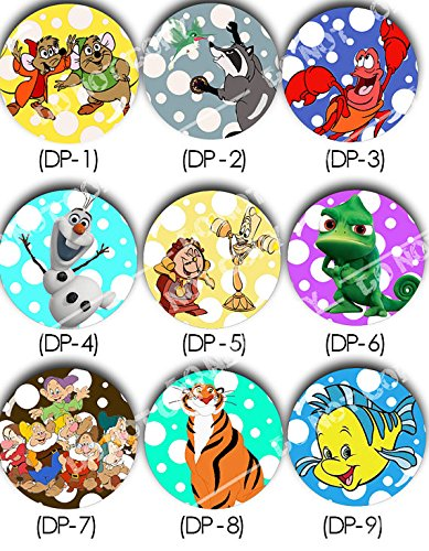 Disney Sidekicks - Pinback Button - Gus and Jaq - Meeko and Flit - Sebastian - Olaf - Lumiere and Cogsworth - Pascal - Seven Dwarfs - Rajah