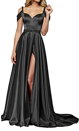 f759430285 Image Unavailable. Image not available for. Color: XSWPL Womens Off  Shoulder Satin Prom Dresses with Split Formal Evening Party Gown