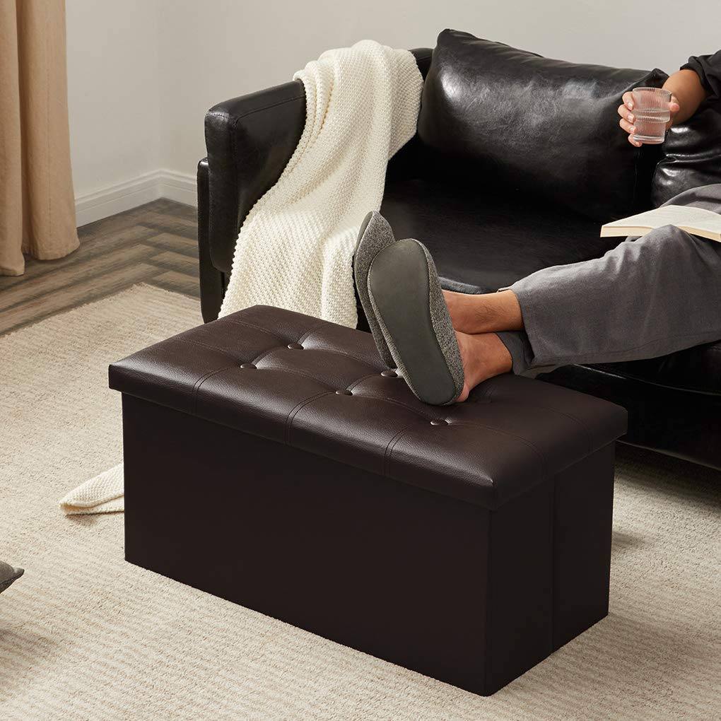 YOUDENOVA 30 inches Folding Storage Ottoman, 80L Storage Bench for Bedroom and Hallway, Faux Leather Brown Footrest with Foam Padded Seat, Support 350lbs by YOUDENOVA