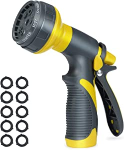 Accenter Water Hose Nozzle Water Spray Nozzle Heavy Duty Plastic Garden Hose Nozzle with 8 Patterns of Spray Perfect for Watering Plants Lawns,Washing Cars,Showering Dogs Yellow