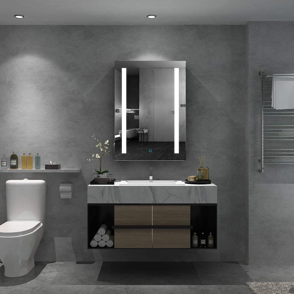 Quavikey LED Spiegelschrank 19x19cm Badezimmer Spiegelschrank Aluminium mit  LED Beleuchtung Lichtspiegelschrank Antibeschlag Touchschalter Helligkeit