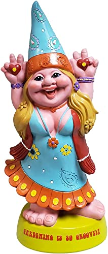 Pacific Giftware Hippie Lady Gnome Gardening is Groovey Garden Gnome Statue 12H