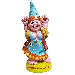 Hippie Lady Gnome Groovy Gardening Garden Gnome Statue 70's