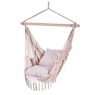 "Auwish Hammock Chair Macrame Swing - Handmade Hanging Cotton Rope Patio Chairs for Indoor, Outdoor Home, Bedroom, Deck, Yard, Garden Wide Seat (39.4"" x 51.2'', White): Kitchen & Dining"