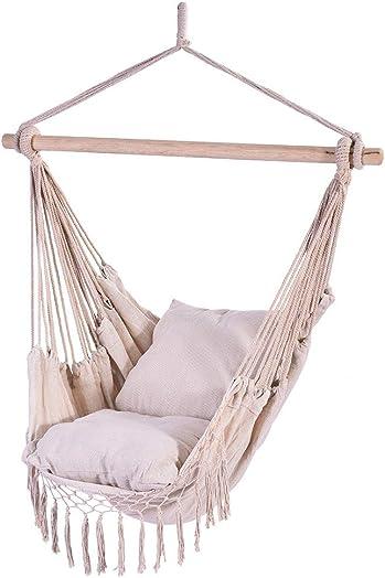 Auwish Hammock Chair Macrame Swing – Handmade Hanging Cotton Rope Patio Chairs for Indoor, Outdoor Home, Bedroom, Deck, Yard, Garden Wide Seat 39.4 x 51.2 , White