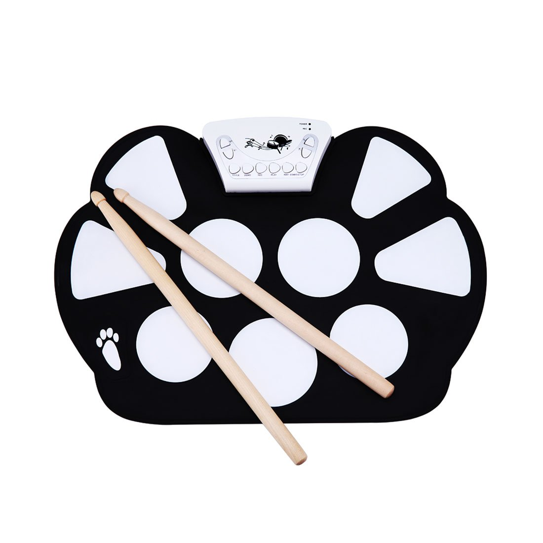Roll Up Drum Kit 9 Pad Record Function Midi In/Out Headphone MP3 Jack Foot Pedals Drum Sticks USB Interface EDW758