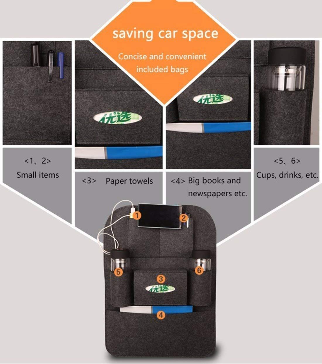 Dark gray KJLM Car Seat Organiser Back Seat Car Organizer Tidy 2 Pack Multifunctional Thick Felt Pocket Travel Storag Easy to Install /& Remove and Large Capacity