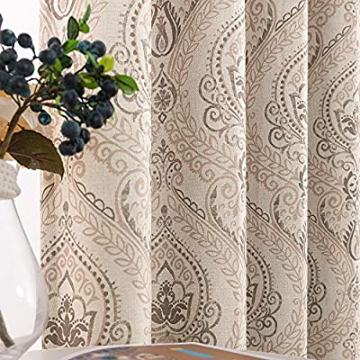"""Medallion Linen Textured Curtains for Living Room 84 Inch Length Drapes Damask Pattern Flax Draperies Window Treatments… - 【Simple Design】 Package includes 2 Damask Printed Light Filtering Curtains. Each measures 50""""width by 84"""" length. 【Style Fashion】Flaunting a large damask print in vivid colors, this beautiful panel pair creates a striking contrast, for a stylish and eye-catching look. 【Light Reducing】Room darkening fabric reduce up to 50% of sunlight, letting you enjoy a serene and comfortable internal environment during any time. - living-room-soft-furnishings, living-room, draperies-curtains-shades - 61HGYVwVsLL. SS400  -"""