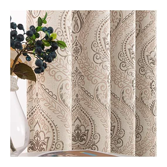 """Medallion Linen Textured Curtains for Living Room 84 Inch Length Drapes Damask Pattern Flax Draperies Window Treatments Room Darkening Sliding Glass Doors for Bedroom Curtain Panels 1 Pair Taupe - 【Simple Design】 Package includes 2 Damask Printed Light Filtering Curtains. Each measures 50""""width by 84"""" length. 【Style Fashion】Flaunting a large damask print in vivid colors, this beautiful panel pair creates a striking contrast, for a stylish and eye-catching look. 【Light Reducing】Room darkening fabric reduce up to 50% of sunlight, letting you enjoy a serene and comfortable internal environment during any time. - living-room-soft-furnishings, living-room, draperies-curtains-shades - 61HGYVwVsLL. SS570  -"""