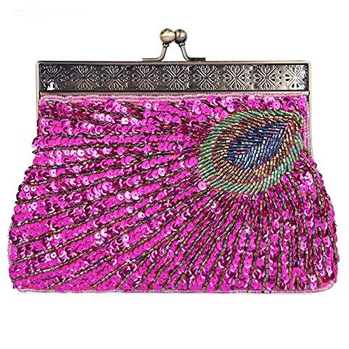 vintage pavo real con cuentas de lentejuelas bolso de noche cena bolso de embrague bolsos monedero. 22 x 14 x 4 cm . red . one size rose