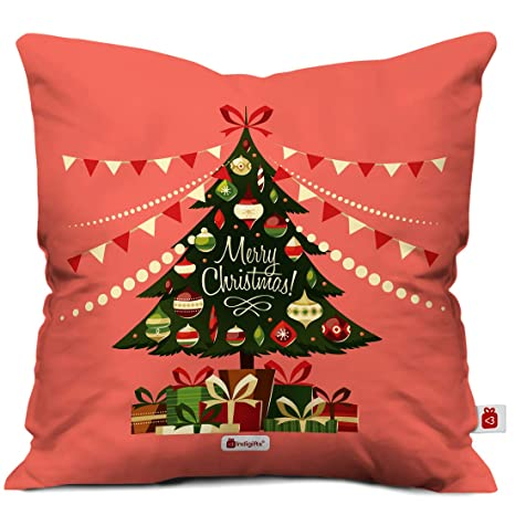 Christmas Tree Fillers.Indigifts Christmas Tree Print Light Red Cushion Cover 12x12 With Filler Xmas Gift For Her Him Boy Girl Dad Mom Friends Family Christmas