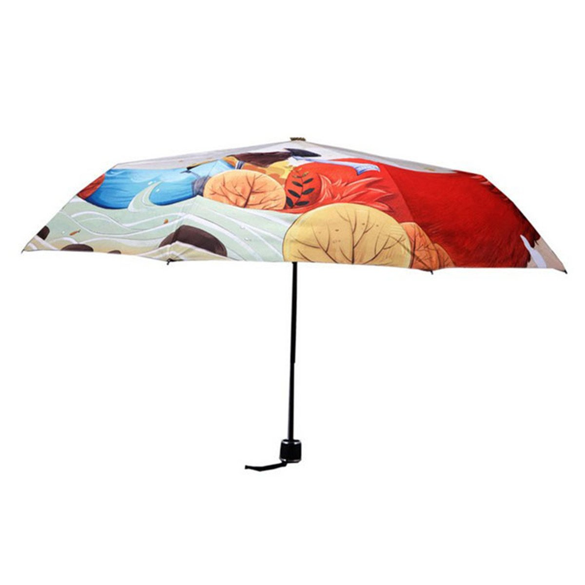 Ruick Artistic Umbrella Light-weighted Folding Umbrella with Anti-UV and Windproof Funtions Suitable for Both Sunny and Raining Days- Available In 5 Patterns (Fox) by Ruick (Image #9)