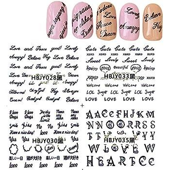 amazon com kads black letter 3d design nail art sticker tip decal