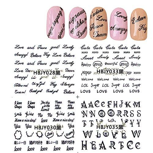 (KADS Black Letter 3D Design Nail Art Sticker Tip Decal Manicure - 1 Pack 12 design )