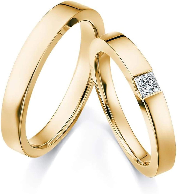 AnazoZ Anillos Compromiso Parejas Oro 18K Redondo Mosaico Cuadrado Diamante Blanco 0.15ct
